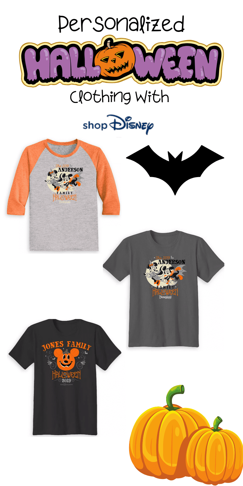 Here are the best in Disney Halloween Personalized Clothing for the whole family. This fantastic post rounds up the spooky and adorableness of ShopDisney's Halloween Collection for 2019.  #ad @ShopDisney #halloween2019 #disney #disneylove #disneymagic #waltdisney #disneyprincess #mickeymouse #disneyphoto #disneylife #disneyfan #mickey #disneyaddict #disnerd #starwars #halloween
